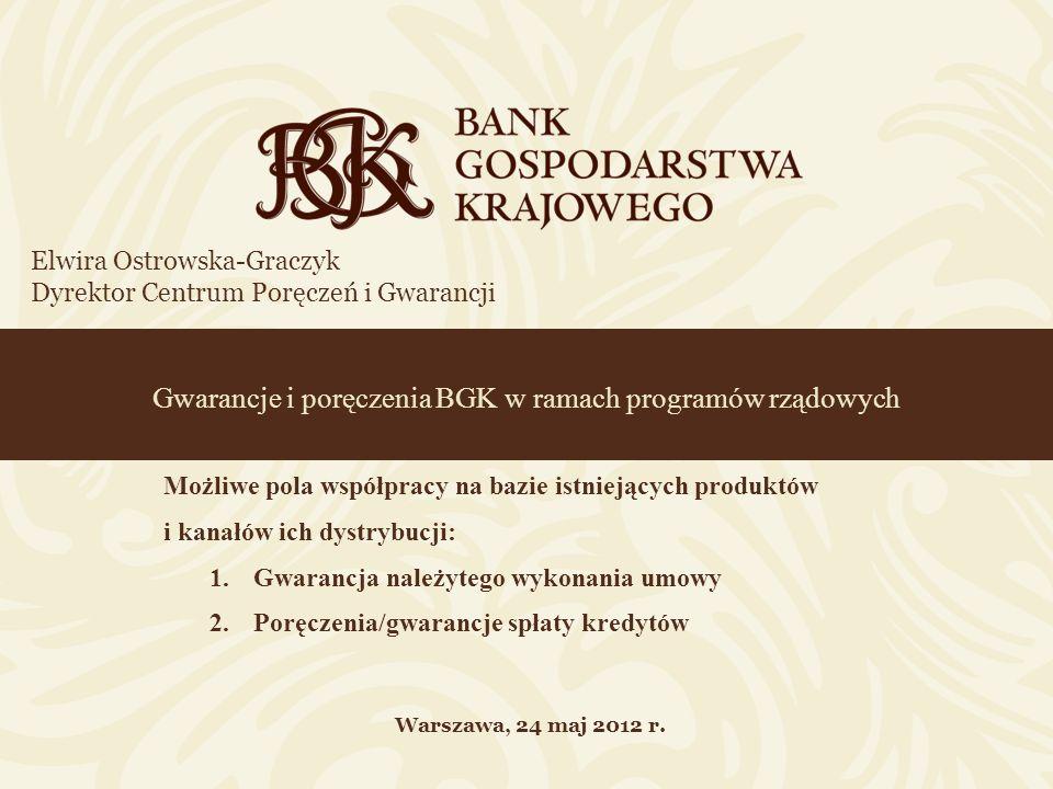 Gwarancje i poręczenia BGK w ramach programów rządowych Elwira Ostrowska-Graczyk Dyrektor Centrum Poręczeń i Gwarancji Warszawa, 24 maj 2012 r. Możliw