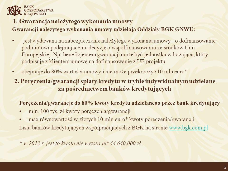 2 1. Gwarancja należytego wykonania umowy Gwarancji należytego wykonania umowy udzielają Oddziały BGK GNWU: jest wydawana na zabezpieczenie należytego