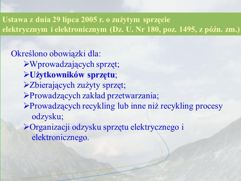 wprowadzający sprzęt użytkownik GIOŚ zbierający zakład przetwarzania recykler Wpis do rejestru Zużyty sprzęt Środki finansowe