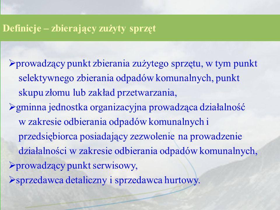 Definicje – zbierający zużyty sprzęt prowadzący punkt zbierania zużytego sprzętu, w tym punkt selektywnego zbierania odpadów komunalnych, punkt skupu