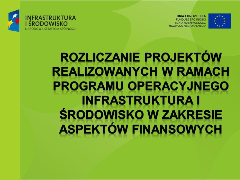 UNIA EUROPEJSKA FUNDUSZ SPÓJNOŚCI EUROPEJSKI FUNDUSZ ROZWOJU REGIONALNEGO Zasady rozliczania i dokumentowania wydatków Podstawy prawne dotyczące realizacji projektów współfinansowanych z Programu Operacyjnego Infrastruktura i Środowisko Analiza umowy o dofinansowanie: Obowiązki Beneficjenta Obowiązki Instytucji Wdrażającej Zmiany w projekcie i umowie o dofinansowanie Dokumentacja księgowa wydatków w projekcie.