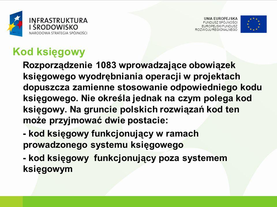 UNIA EUROPEJSKA FUNDUSZ SPÓJNOŚCI EUROPEJSKI FUNDUSZ ROZWOJU REGIONALNEGO Kod księgowy Rozporządzenie 1083 wprowadzające obowiązek księgowego wyodrębn