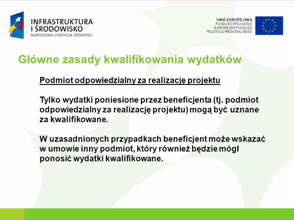 UNIA EUROPEJSKA FUNDUSZ SPÓJNOŚCI EUROPEJSKI FUNDUSZ ROZWOJU REGIONALNEGO Podmiot odpowiedzialny za realizację projektu Tylko wydatki poniesione przez