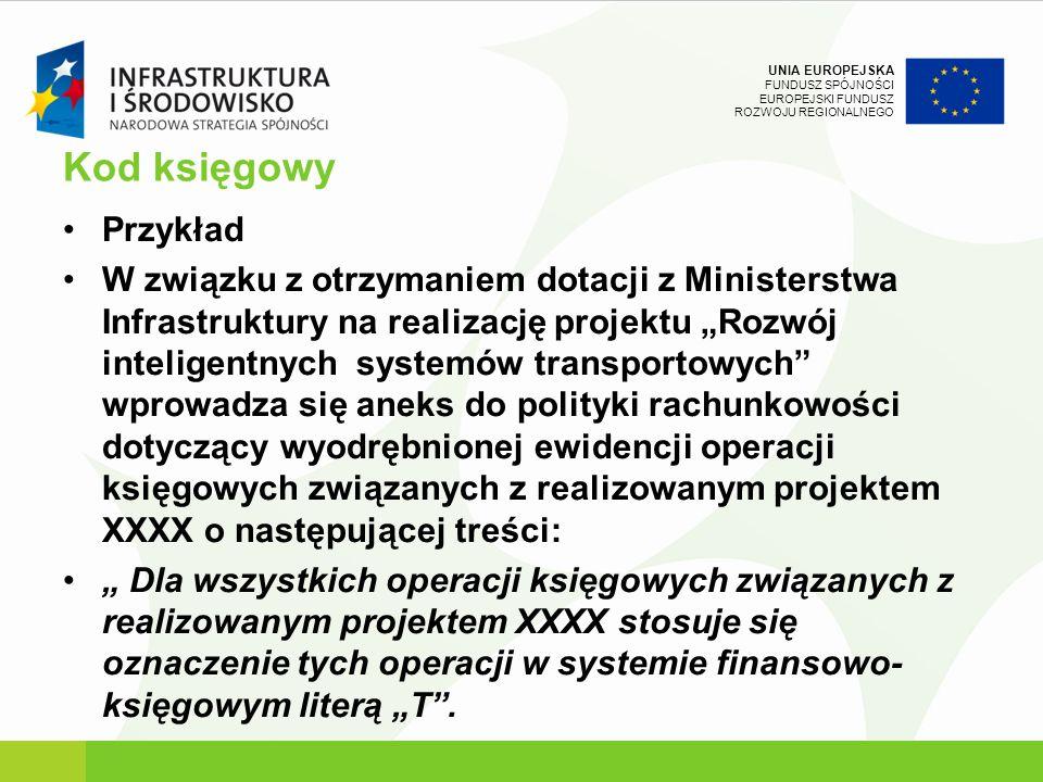 UNIA EUROPEJSKA FUNDUSZ SPÓJNOŚCI EUROPEJSKI FUNDUSZ ROZWOJU REGIONALNEGO Kod księgowy Przykład W związku z otrzymaniem dotacji z Ministerstwa Infrast