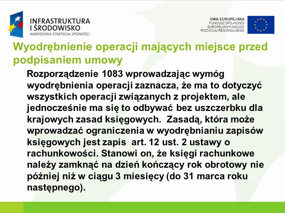 UNIA EUROPEJSKA FUNDUSZ SPÓJNOŚCI EUROPEJSKI FUNDUSZ ROZWOJU REGIONALNEGO Wyodrębnienie operacji mających miejsce przed podpisaniem umowy Rozporządzen