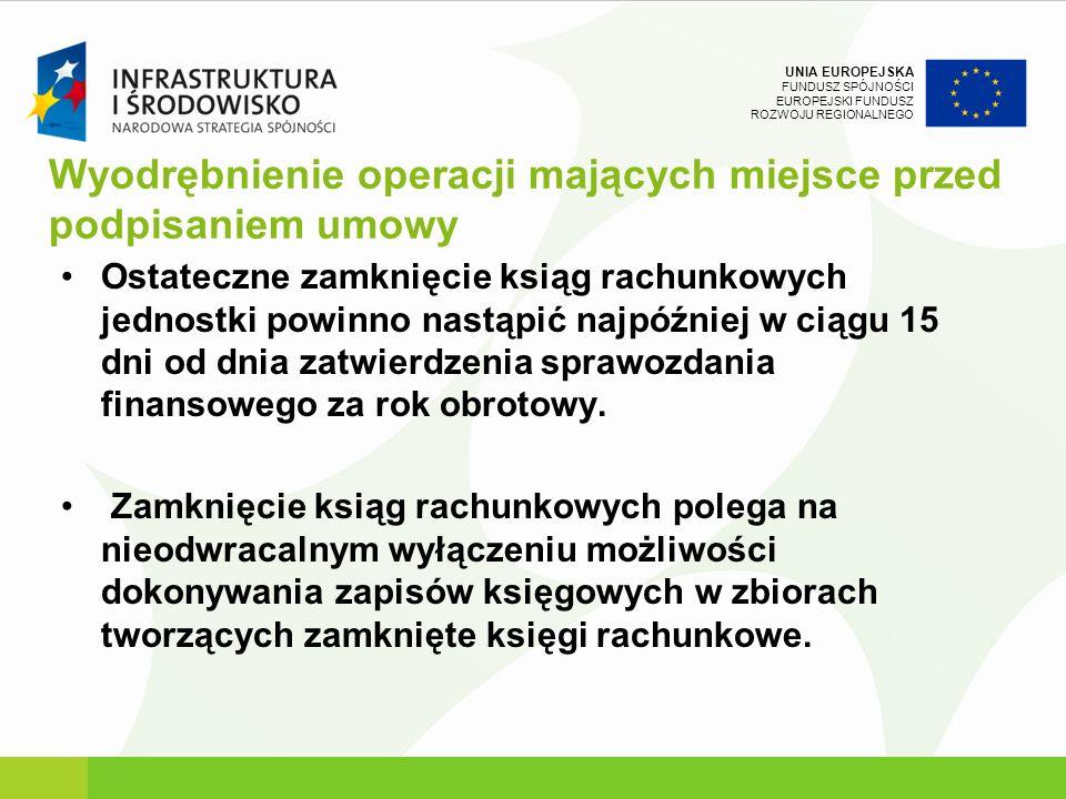 UNIA EUROPEJSKA FUNDUSZ SPÓJNOŚCI EUROPEJSKI FUNDUSZ ROZWOJU REGIONALNEGO Wyodrębnienie operacji mających miejsce przed podpisaniem umowy Ostateczne z