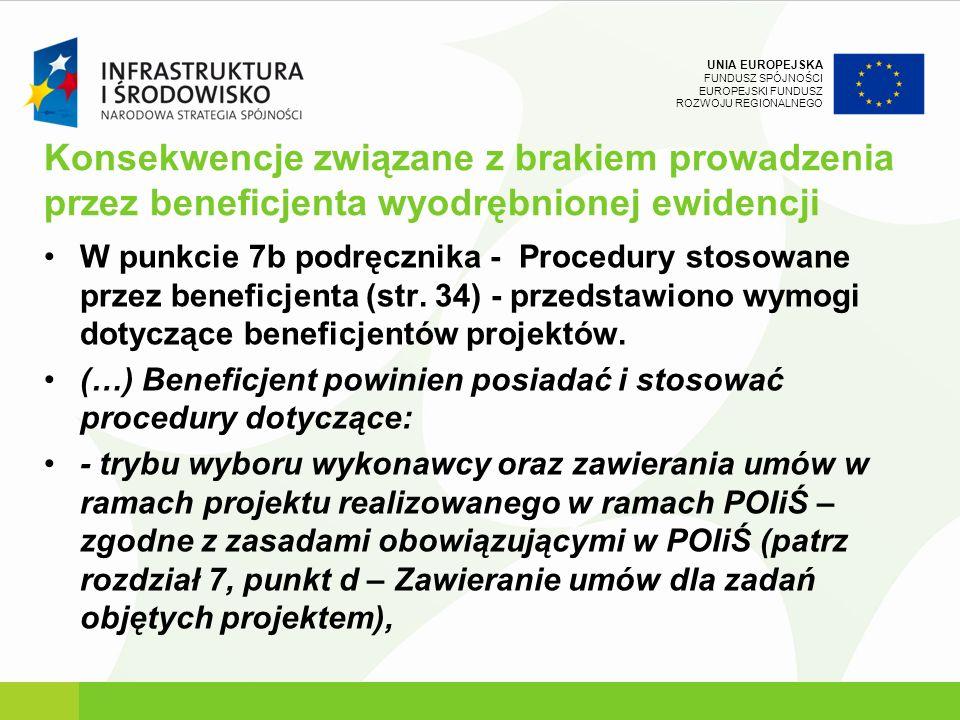 UNIA EUROPEJSKA FUNDUSZ SPÓJNOŚCI EUROPEJSKI FUNDUSZ ROZWOJU REGIONALNEGO Konsekwencje związane z brakiem prowadzenia przez beneficjenta wyodrębnionej