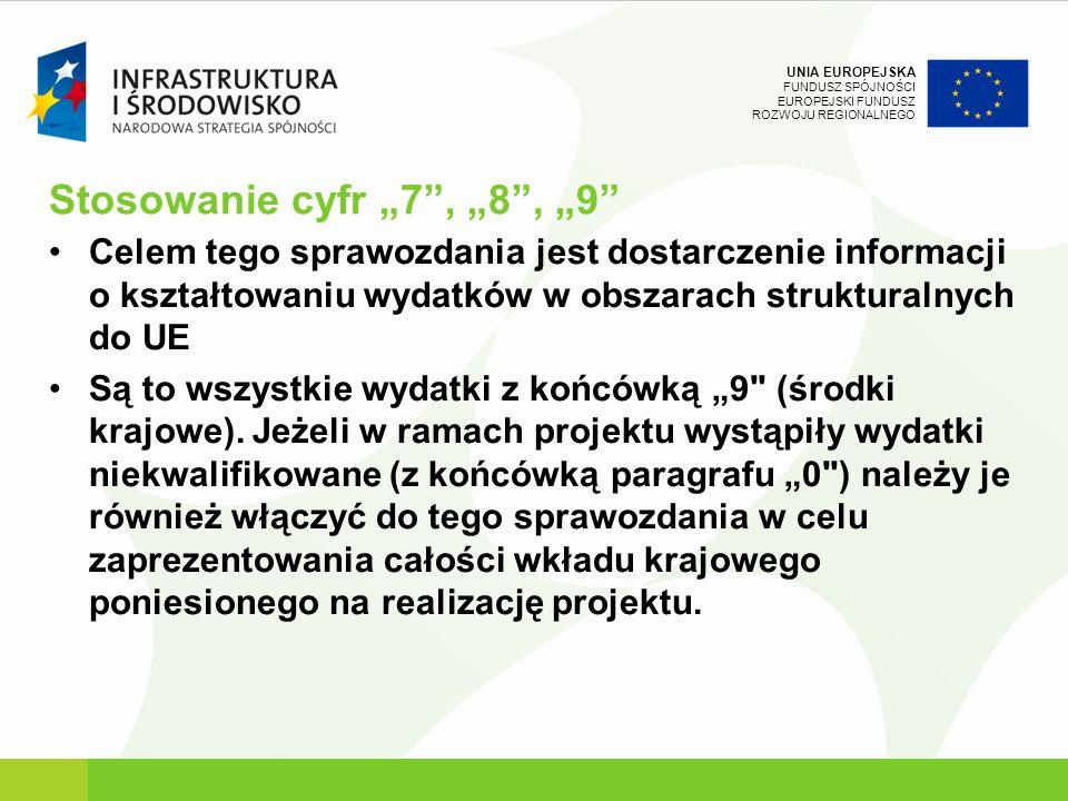 UNIA EUROPEJSKA FUNDUSZ SPÓJNOŚCI EUROPEJSKI FUNDUSZ ROZWOJU REGIONALNEGO Stosowanie cyfr 7, 8, 9 Celem tego sprawozdania jest dostarczenie informacji