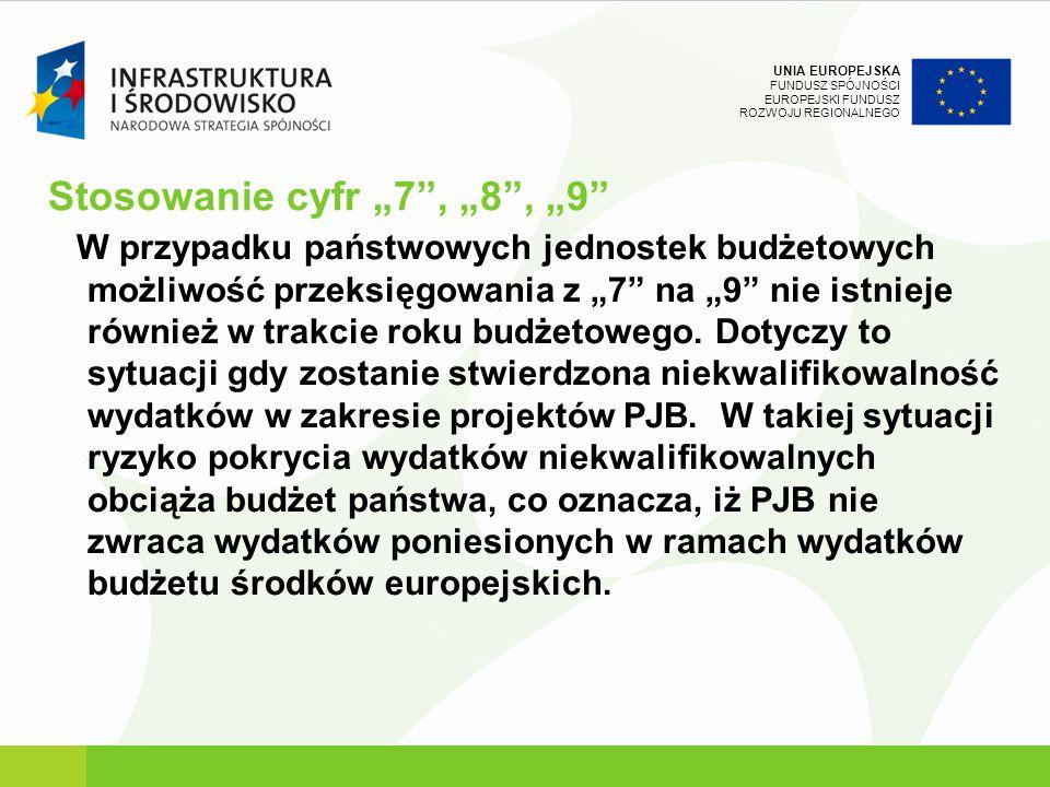 UNIA EUROPEJSKA FUNDUSZ SPÓJNOŚCI EUROPEJSKI FUNDUSZ ROZWOJU REGIONALNEGO Stosowanie cyfr 7, 8, 9 W przypadku państwowych jednostek budżetowych możliw