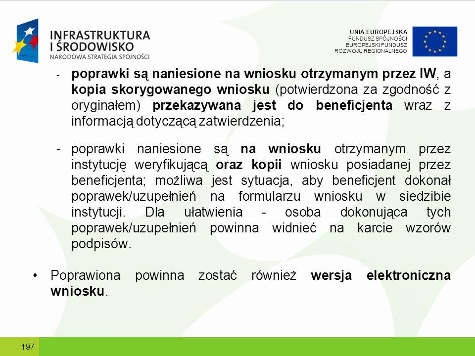 UNIA EUROPEJSKA FUNDUSZ SPÓJNOŚCI EUROPEJSKI FUNDUSZ ROZWOJU REGIONALNEGO - poprawki są naniesione na wniosku otrzymanym przez IW, a kopia skorygowane
