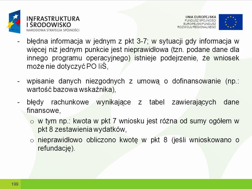 UNIA EUROPEJSKA FUNDUSZ SPÓJNOŚCI EUROPEJSKI FUNDUSZ ROZWOJU REGIONALNEGO -błędna informacja w jednym z pkt 3-7; w sytuacji gdy informacja w więcej ni