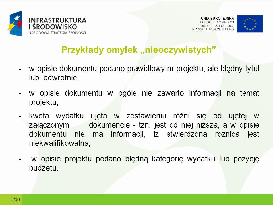 UNIA EUROPEJSKA FUNDUSZ SPÓJNOŚCI EUROPEJSKI FUNDUSZ ROZWOJU REGIONALNEGO Przykłady omyłek nieoczywistych - w opisie dokumentu podano prawidłowy nr pr