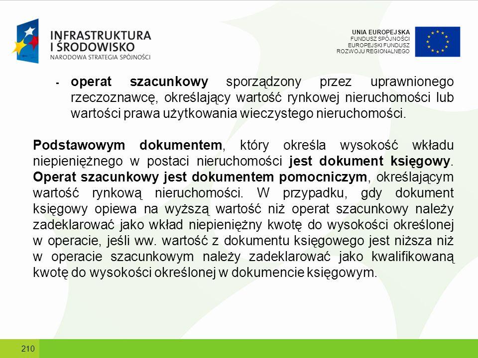 UNIA EUROPEJSKA FUNDUSZ SPÓJNOŚCI EUROPEJSKI FUNDUSZ ROZWOJU REGIONALNEGO - operat szacunkowy sporządzony przez uprawnionego rzeczoznawcę, określający