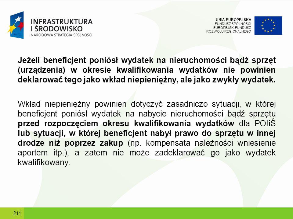 UNIA EUROPEJSKA FUNDUSZ SPÓJNOŚCI EUROPEJSKI FUNDUSZ ROZWOJU REGIONALNEGO Jeżeli beneficjent poniósł wydatek na nieruchomości bądź sprzęt (urządzenia)