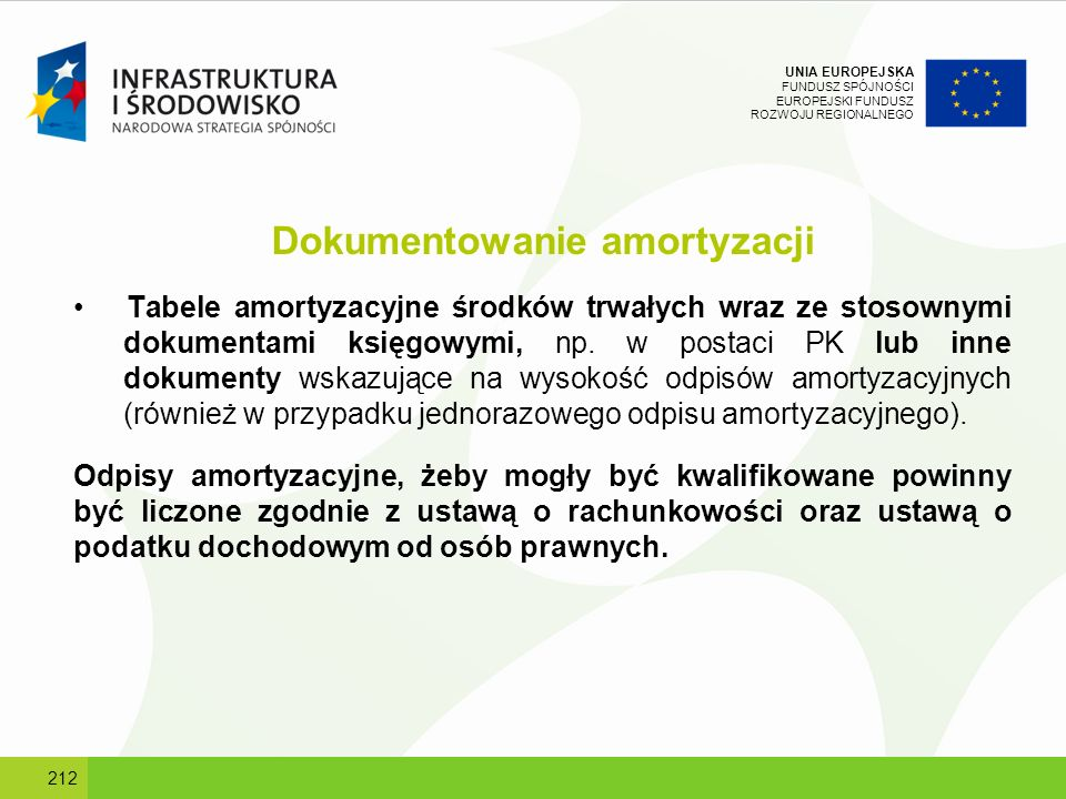 UNIA EUROPEJSKA FUNDUSZ SPÓJNOŚCI EUROPEJSKI FUNDUSZ ROZWOJU REGIONALNEGO Dokumentowanie amortyzacji Tabele amortyzacyjne środków trwałych wraz ze sto
