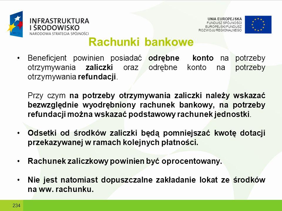 UNIA EUROPEJSKA FUNDUSZ SPÓJNOŚCI EUROPEJSKI FUNDUSZ ROZWOJU REGIONALNEGO Rachunki bankowe Beneficjent powinien posiadać odrębne konto na potrzeby otr