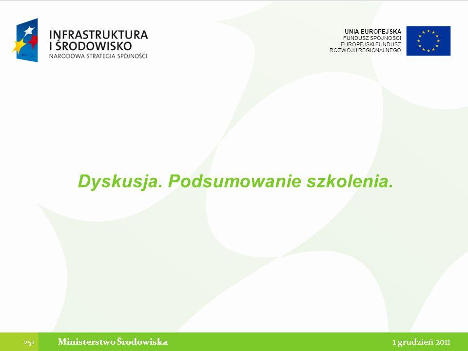 UNIA EUROPEJSKA FUNDUSZ SPÓJNOŚCI EUROPEJSKI FUNDUSZ ROZWOJU REGIONALNEGO 251 1 grudzień 2011Ministerstwo Środowiska Dyskusja. Podsumowanie szkolenia.