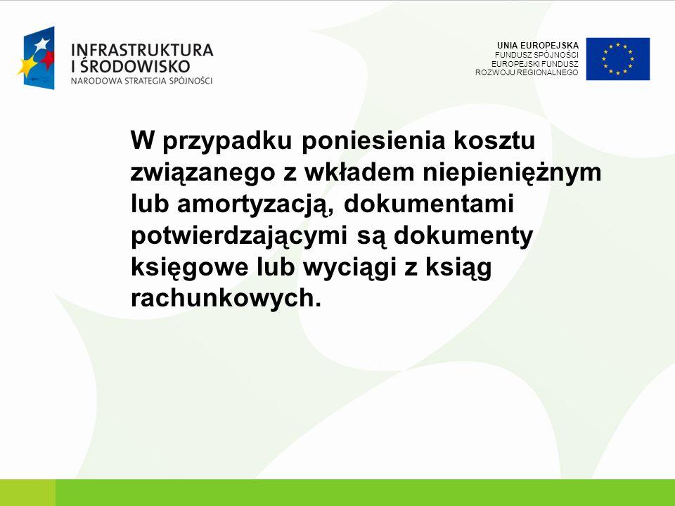 UNIA EUROPEJSKA FUNDUSZ SPÓJNOŚCI EUROPEJSKI FUNDUSZ ROZWOJU REGIONALNEGO W przypadku poniesienia kosztu związanego z wkładem niepieniężnym lub amorty