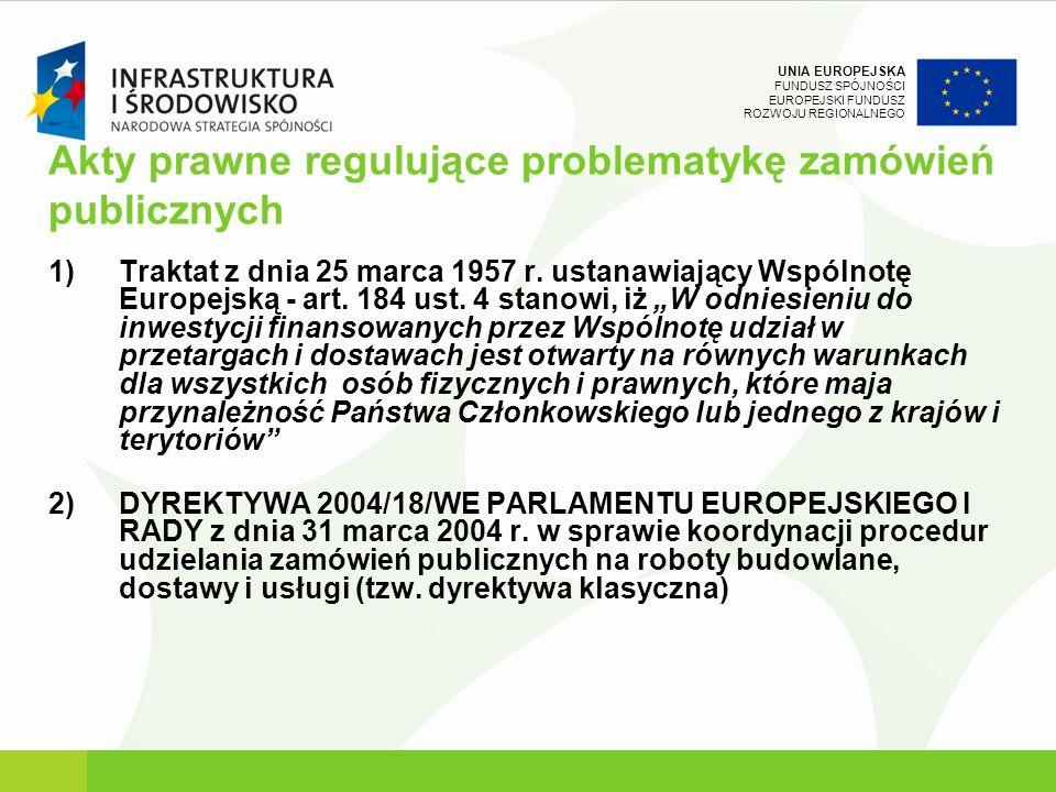 UNIA EUROPEJSKA FUNDUSZ SPÓJNOŚCI EUROPEJSKI FUNDUSZ ROZWOJU REGIONALNEGO Akty prawne regulujące problematykę zamówień publicznych 1)Traktat z dnia 25