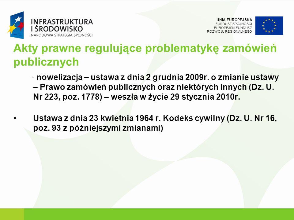 UNIA EUROPEJSKA FUNDUSZ SPÓJNOŚCI EUROPEJSKI FUNDUSZ ROZWOJU REGIONALNEGO Akty prawne regulujące problematykę zamówień publicznych - nowelizacja – ust