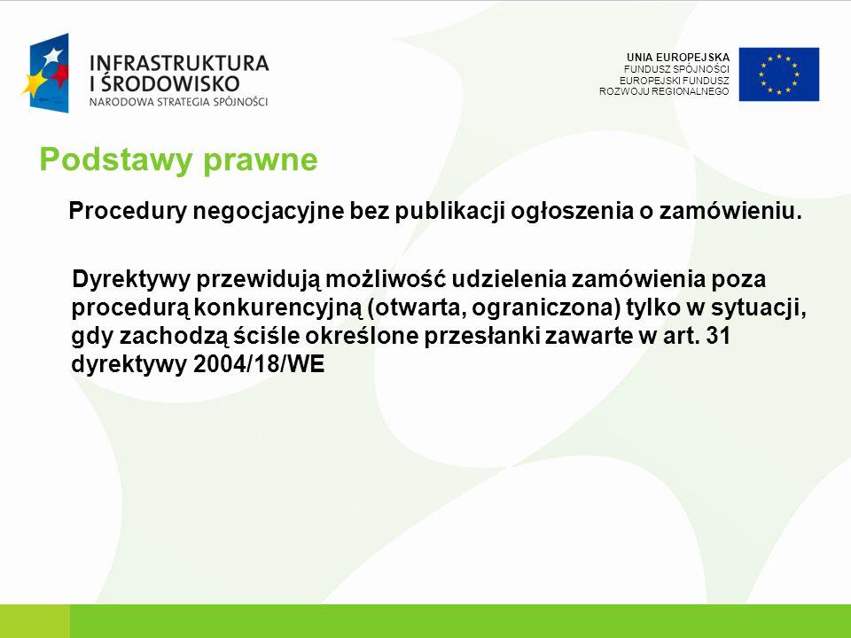 UNIA EUROPEJSKA FUNDUSZ SPÓJNOŚCI EUROPEJSKI FUNDUSZ ROZWOJU REGIONALNEGO Podstawy prawne Procedury negocjacyjne bez publikacji ogłoszenia o zamówieni