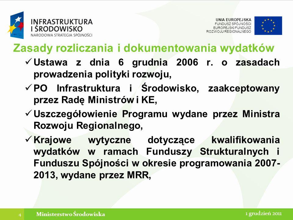 UNIA EUROPEJSKA FUNDUSZ SPÓJNOŚCI EUROPEJSKI FUNDUSZ ROZWOJU REGIONALNEGO Zakaz podwójnego finansowania Niedozwolone jest zrefundowanie całkowite lub częściowe danego wydatku dwa razy ze środków publicznych (krajowych lub wspólnotowych) : 1.tego samego wydatku w ramach dwóch różnych projektów współfinansowanych ze środków funduszy strukturalnych lub Funduszu Spójności; 2.podatku VAT ze środków wspólnotowych, a następnie odzyskanie tego podatku ze środków budżetu państwa w oparciu o ustawę o VAT; 3.zakupienie środka trwałego z udziałem dotacji krajowej, a następnie zrefundowanie kosztów amortyzacji tego środka w ramach środków wspólnotowych.