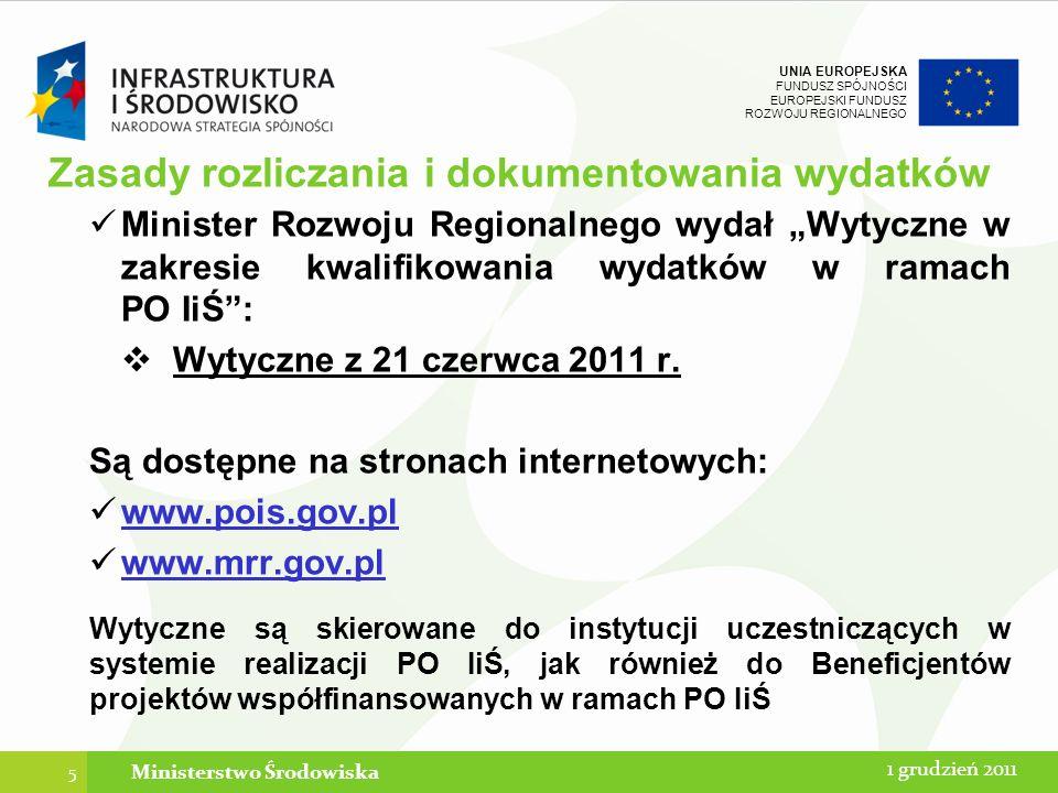 UNIA EUROPEJSKA FUNDUSZ SPÓJNOŚCI EUROPEJSKI FUNDUSZ ROZWOJU REGIONALNEGO 166 12 stycznia 2014Ministerstwo Środowiska