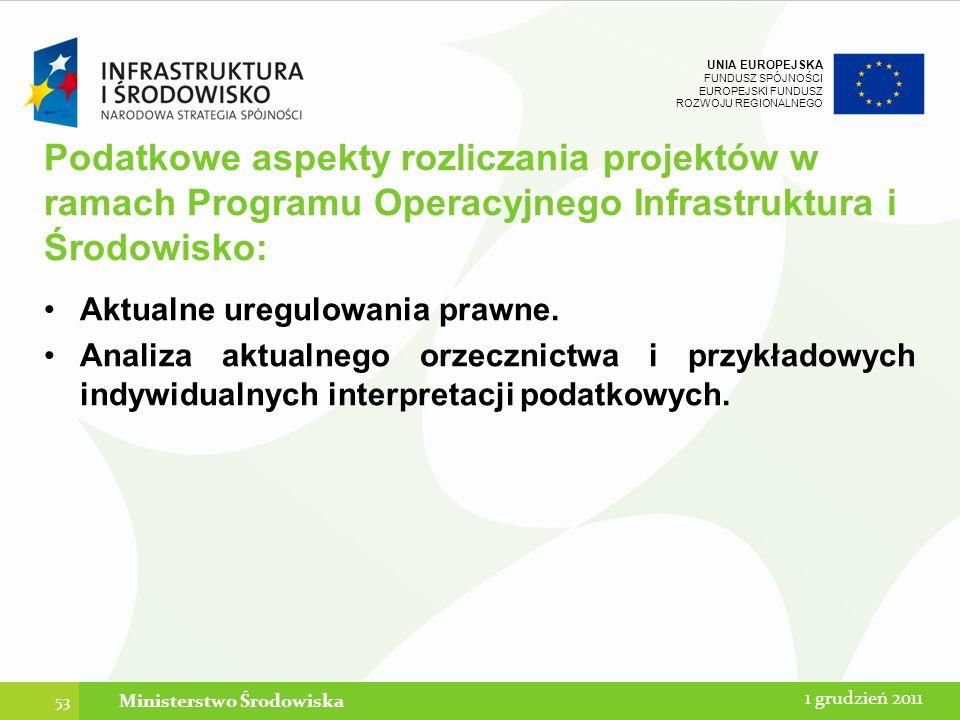 UNIA EUROPEJSKA FUNDUSZ SPÓJNOŚCI EUROPEJSKI FUNDUSZ ROZWOJU REGIONALNEGO Podatkowe aspekty rozliczania projektów w ramach Programu Operacyjnego Infra