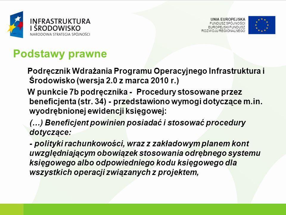 UNIA EUROPEJSKA FUNDUSZ SPÓJNOŚCI EUROPEJSKI FUNDUSZ ROZWOJU REGIONALNEGO Podstawy prawne Podręcznik Wdrażania Programu Operacyjnego Infrastruktura i
