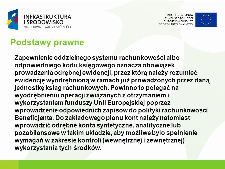 UNIA EUROPEJSKA FUNDUSZ SPÓJNOŚCI EUROPEJSKI FUNDUSZ ROZWOJU REGIONALNEGO Podstawy prawne Zapewnienie oddzielnego systemu rachunkowości albo odpowiedn