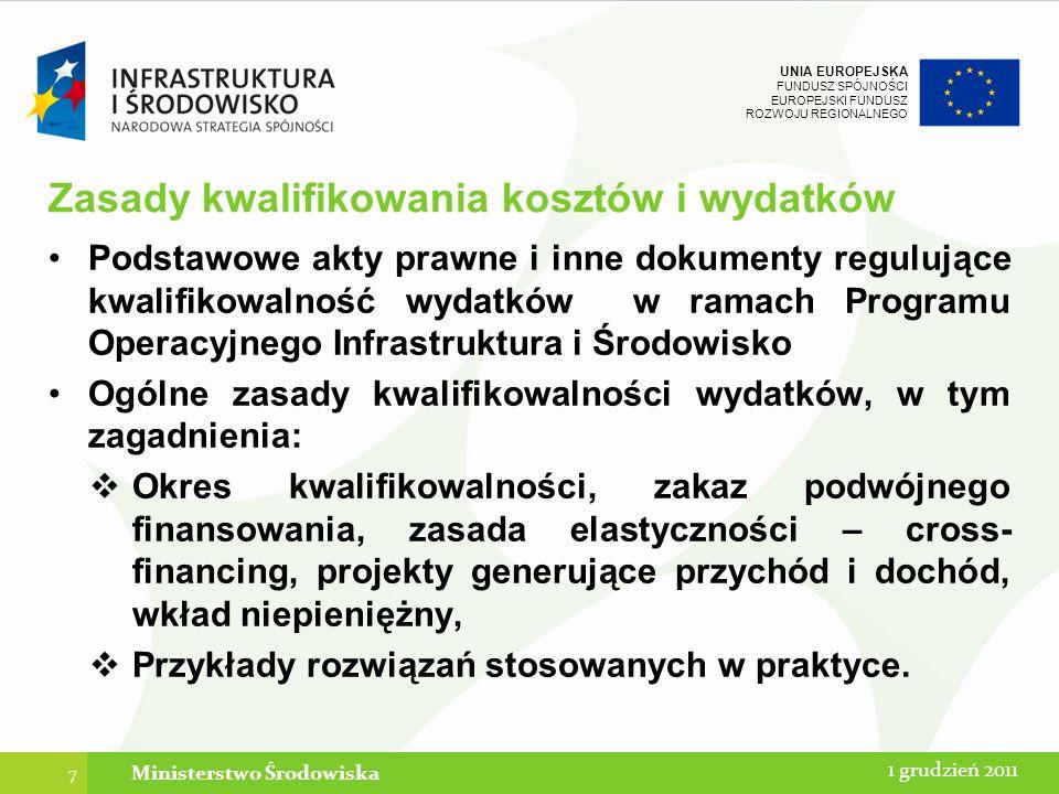 UNIA EUROPEJSKA FUNDUSZ SPÓJNOŚCI EUROPEJSKI FUNDUSZ ROZWOJU REGIONALNEGO Cel i podstawa prowadzenia wyodrębnionej księgowości projektu w prawie unijnym i polskim Odrębna dokonana w prawidłowy sposób ewidencja ma być gwarancją rzetelnego i terminowego rozliczenia wydatków kwalifikowanych.
