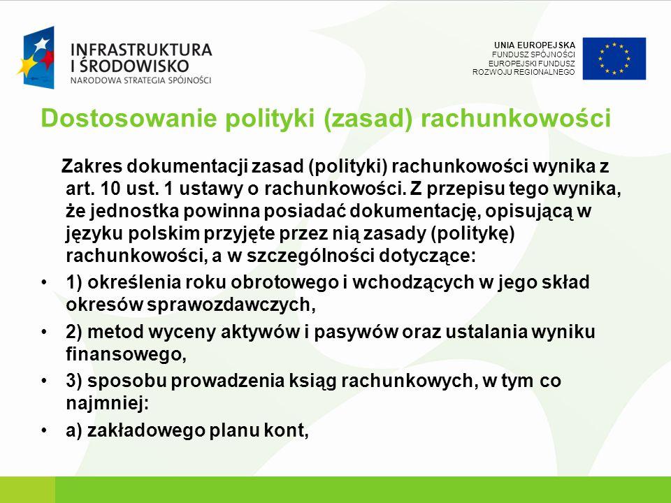 UNIA EUROPEJSKA FUNDUSZ SPÓJNOŚCI EUROPEJSKI FUNDUSZ ROZWOJU REGIONALNEGO Dostosowanie polityki (zasad) rachunkowości Zakres dokumentacji zasad (polit
