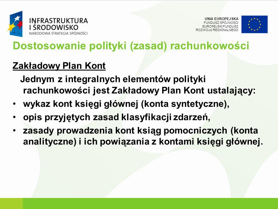 UNIA EUROPEJSKA FUNDUSZ SPÓJNOŚCI EUROPEJSKI FUNDUSZ ROZWOJU REGIONALNEGO Dostosowanie polityki (zasad) rachunkowości Zakładowy Plan Kont Jednym z int