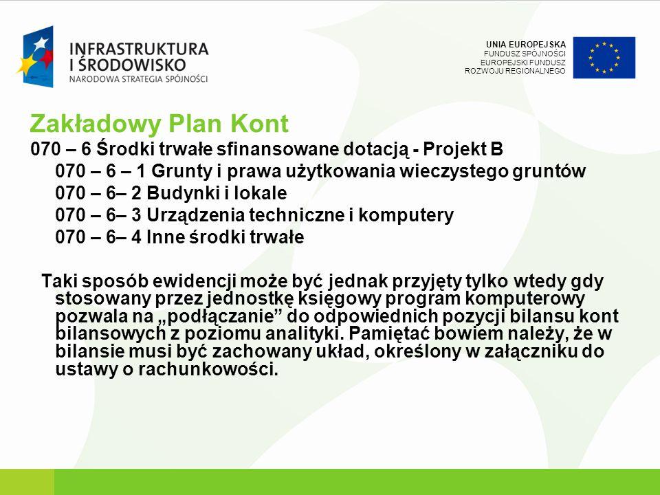 UNIA EUROPEJSKA FUNDUSZ SPÓJNOŚCI EUROPEJSKI FUNDUSZ ROZWOJU REGIONALNEGO Zakładowy Plan Kont 070 – 6 Środki trwałe sfinansowane dotacją - Projekt B 0