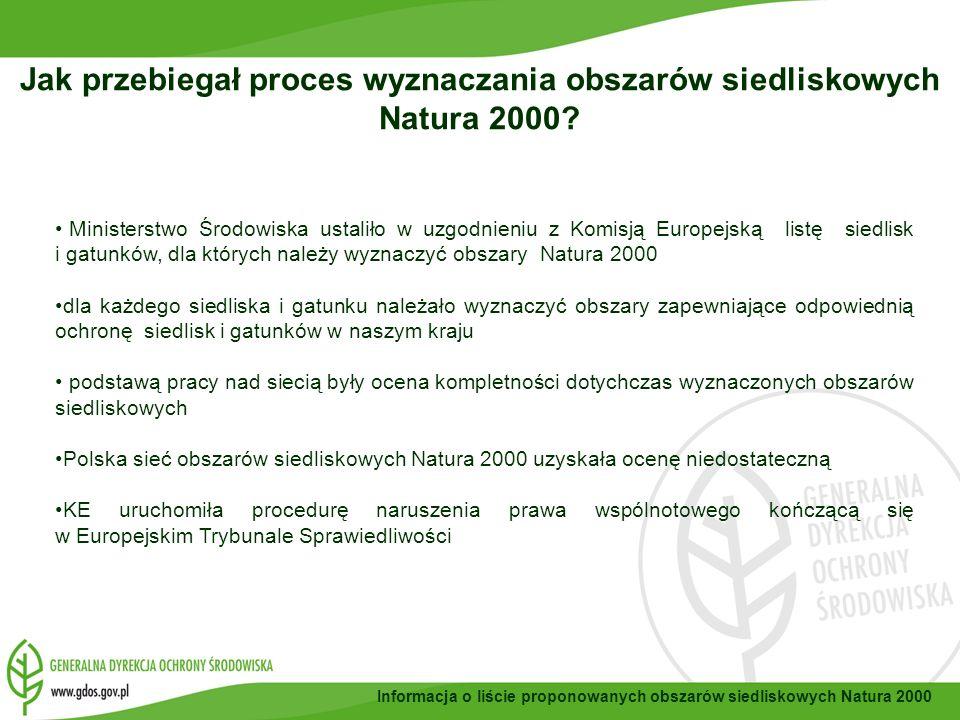 Informacja o liście proponowanych obszarów siedliskowych Natura 2000 brak aktualnej informacji i danych przyrodniczych, które są podstawą wyznaczania obszarów Natura 2000; nie przeprowadzono inwentaryzacji jeszcze na etapie przygotowania Polski do członkostwa ze względu na to, że są to prace kosztowne i wymagałaby przeznaczenia znacznych środków finansowych, czasochłonne zbieranie informacji o siedliskach i gatunkach trwało 3 lata, długotrwałe procedury przetargowe w celu uruchomienia prac eksperckich, długotrwałe uzgodnienia związane z wypracowaniem kompromisów, ograniczone zasoby ludzkie, utworzenie GDOŚ/RDOŚ w 2008 r.