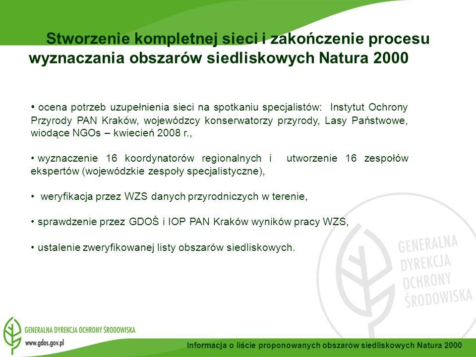 Wojewódzkie Zespoły Specjalistyczne WZS były tworzone przy wojewódzkich konserwatorach przyrody, w skład WSZ weszli przyrodnicy, informatycy - specjaliści od GIS, planiści przestrzenni, WZS składały się głównie z utytułowanych pracowników naukowych uczelni i instytutów, wykazujący się dorobkiem w danej dziedzinie, autorytetem naukowym, obszary opracowane przez WZS były weryfikowane przez specjalistów Instytutu Ochrony Przyrody PAN z Krakowa, placówki, która uczestniczy w powstawaniu sieci od samego jej początku i zapewnia swoim ponad 90 letnim dorobkiem i międzynarodowym autorytetem w dziedzinie ochrony przyrody najwyższy poziom tych prac.