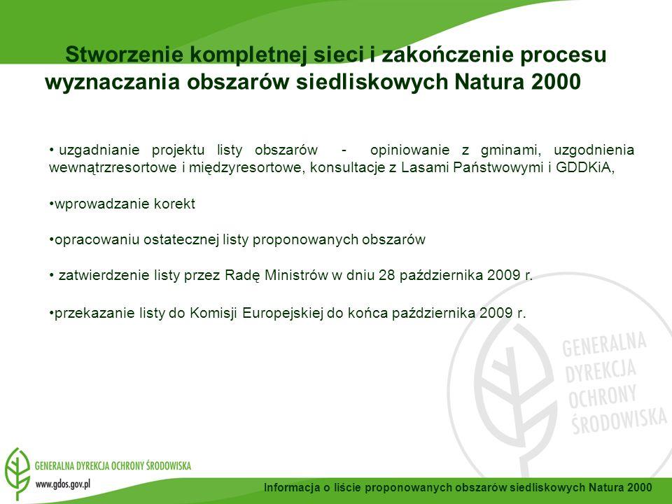 Informacja o liście proponowanych obszarów siedliskowych Natura 2000 uzgadnianie projektu listy obszarów - opiniowanie z gminami, uzgodnienia wewnątrzresortowe i międzyresortowe, konsultacje z Lasami Państwowymi i GDDKiA, wprowadzanie korekt opracowaniu ostatecznej listy proponowanych obszarów zatwierdzenie listy przez Radę Ministrów w dniu 28 października 2009 r.