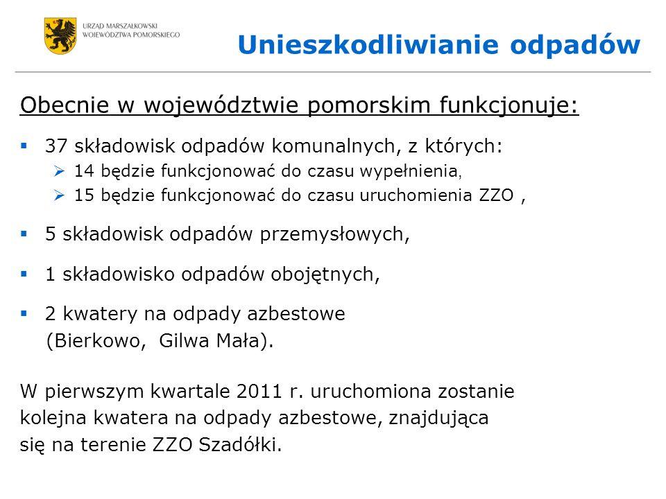 Unieszkodliwianie odpadów Obecnie w województwie pomorskim funkcjonuje: 37 składowisk odpadów komunalnych, z których: 14 będzie funkcjonować do czasu wypełnienia, 15 będzie funkcjonować do czasu uruchomienia ZZO, 5 składowisk odpadów przemysłowych, 1 składowisko odpadów obojętnych, 2 kwatery na odpady azbestowe (Bierkowo, Gilwa Mała).