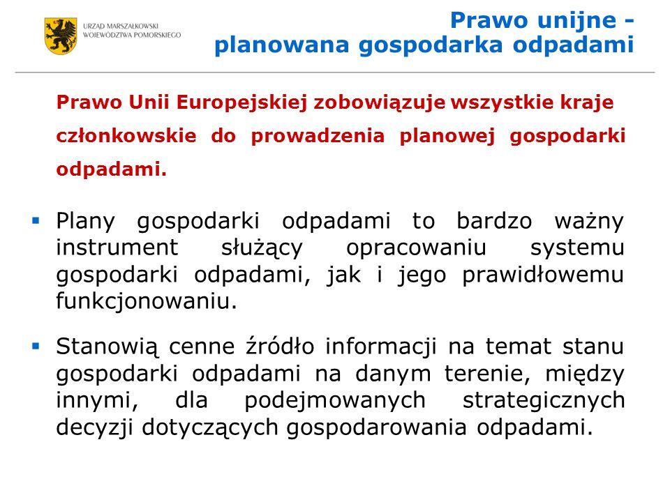 Prawo unijne - planowana gospodarka odpadami Prawo Unii Europejskiej zobowiązuje wszystkie kraje członkowskie do prowadzenia planowej gospodarki odpadami.