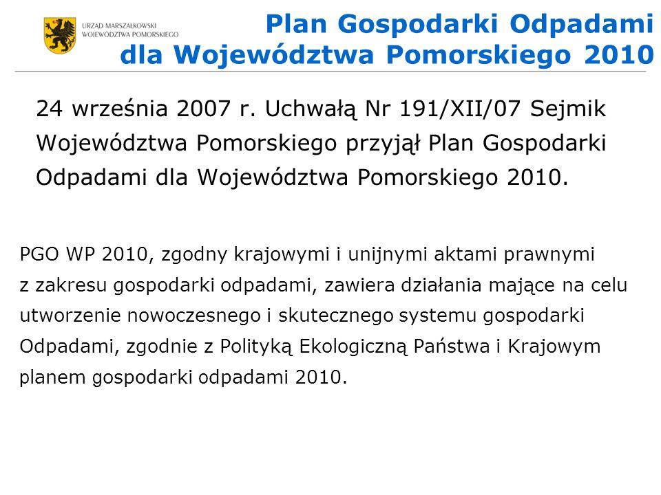 Plan Gospodarki Odpadami dla Województwa Pomorskiego 2010 24 września 2007 r.