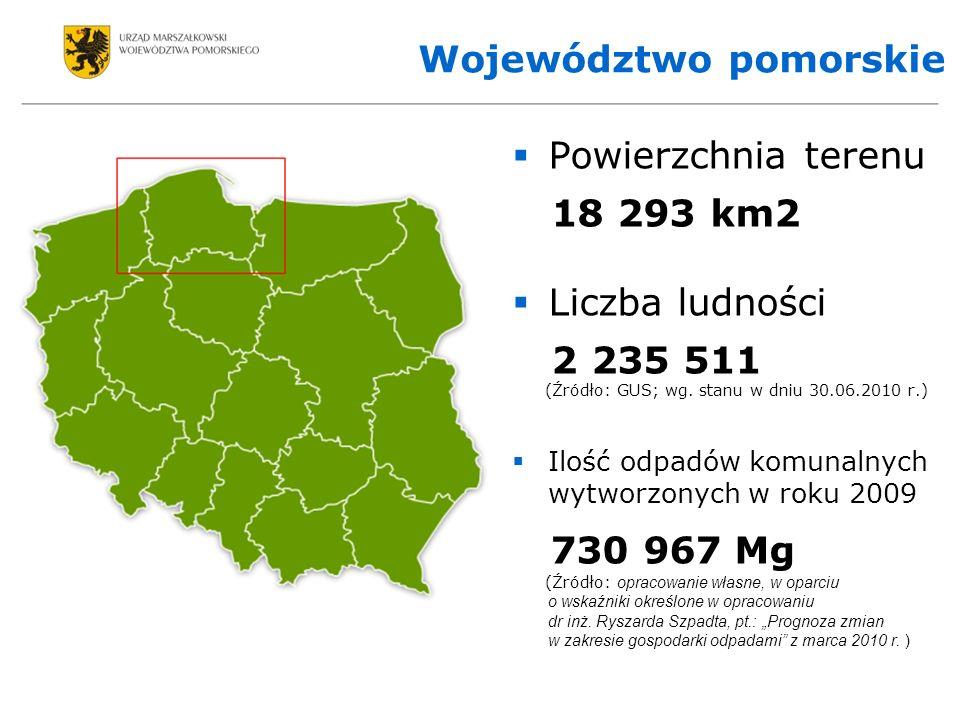 Województwo pomorskie Powierzchnia terenu 18 293 km2 Liczba ludności 2 235 511 (Źródło: GUS; wg.