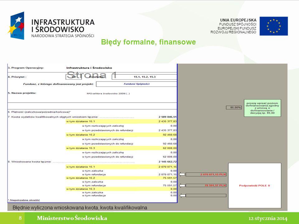 UNIA EUROPEJSKA FUNDUSZ SPÓJNOŚCI EUROPEJSKI FUNDUSZ ROZWOJU REGIONALNEGO Błędy formalne, finansowe 8 12 stycznia 2014Ministerstwo Środowiska Błędnie wyliczona wnioskowana kwota, kwota kwalifikowalna