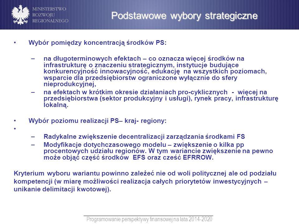 Programowanie perspektywy finansowej na lata 2014-2020 Wybór pomiędzy koncentracją środków PS: –na długoterminowych efektach – co oznacza więcej środk