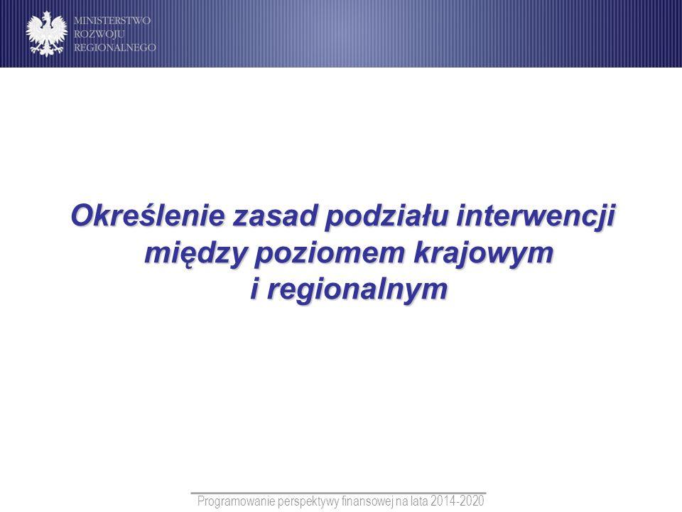 Programowanie perspektywy finansowej na lata 2014-2020 Określenie zasad podziału interwencji między poziomem krajowym i regionalnym