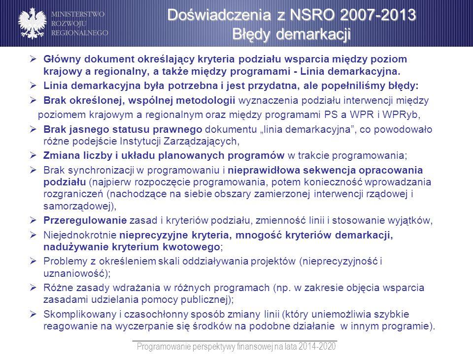 Programowanie perspektywy finansowej na lata 2014-2020 Główny dokument określający kryteria podziału wsparcia między poziom krajowy a regionalny, a ta