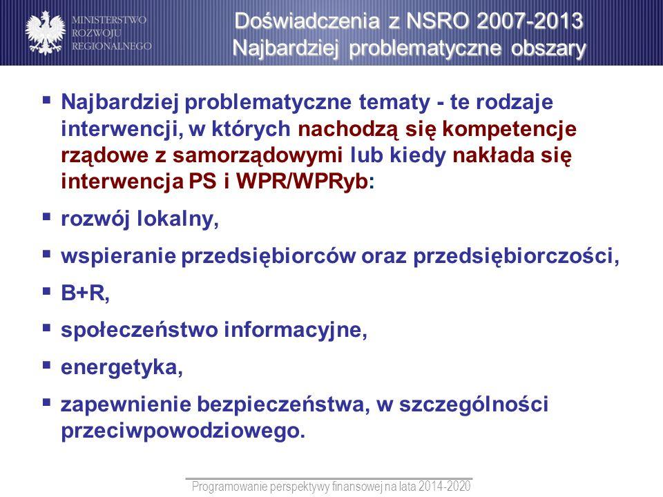 Programowanie perspektywy finansowej na lata 2014-2020 Najbardziej problematyczne tematy - te rodzaje interwencji, w których nachodzą się kompetencje