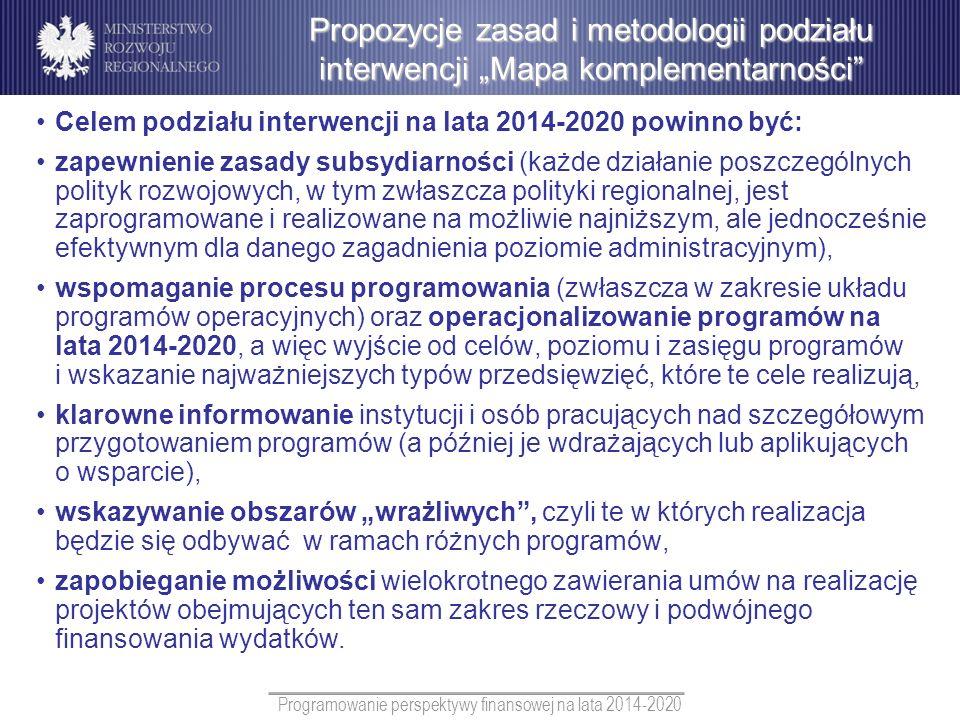 Programowanie perspektywy finansowej na lata 2014-2020 Celem podziału interwencji na lata 2014-2020 powinno być: zapewnienie zasady subsydiarności (ka