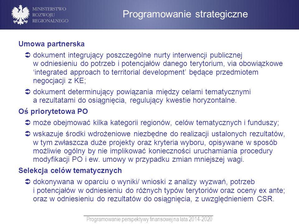 Programowanie perspektywy finansowej na lata 2014-2020 Umowa partnerska dokument integrujący poszczególne nurty interwencji publicznej w odniesieniu d