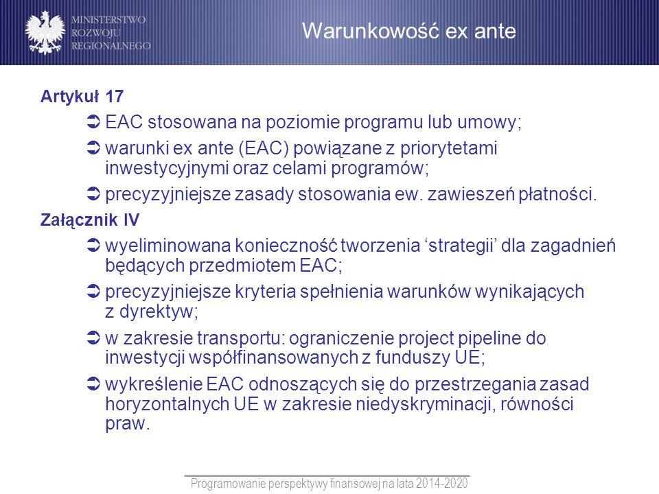 Programowanie perspektywy finansowej na lata 2014-2020 Artykuł 17 EAC stosowana na poziomie programu lub umowy; warunki ex ante (EAC) powiązane z prio