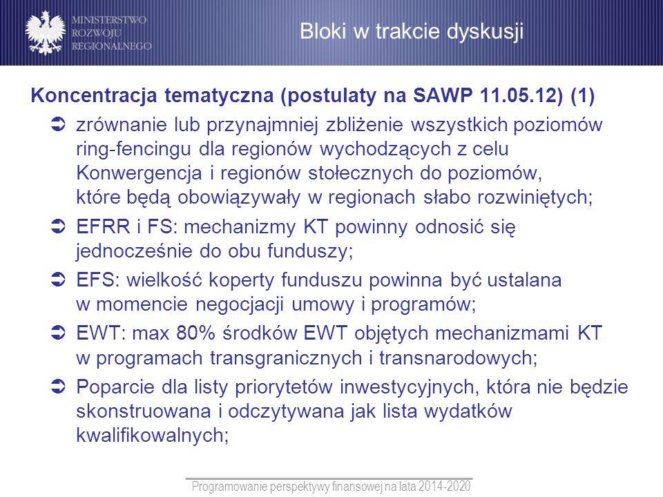 Programowanie perspektywy finansowej na lata 2014-2020 Koncentracja tematyczna (postulaty na SAWP 11.05.12) (1) zrównanie lub przynajmniej zbliżenie w
